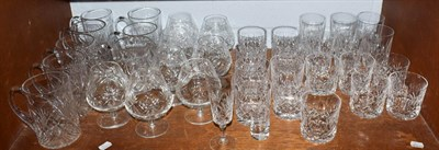Lot 96 - A quantity of Tudor and Edinburgh crystal including tumblers, brandy and tankards (one shelf)