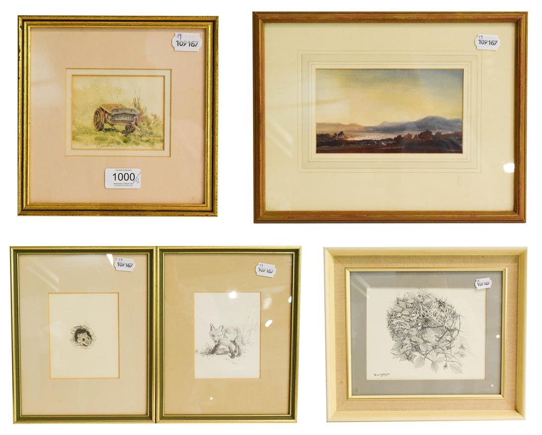 Lot 1000 - Five watercolour and pencil works (British 20th century) to include landscape, fox drawing and...
