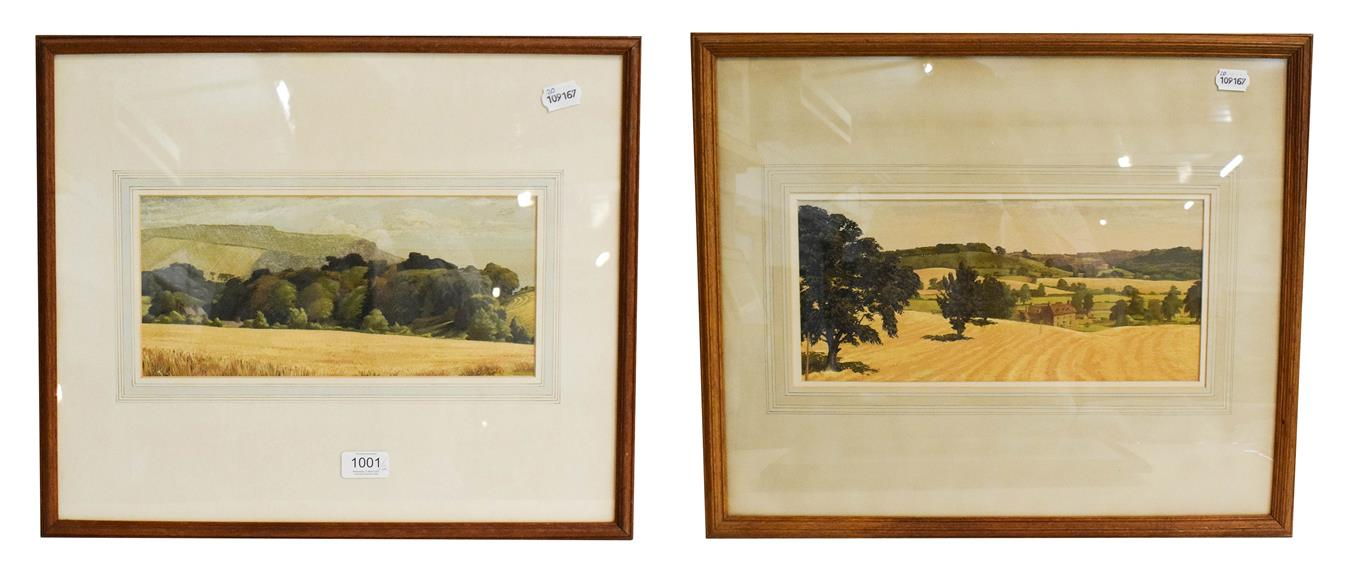 Lot 1001 - Meredith Hawes (1905-1999) Harvest near Alcester, signed gouache, 17cm by 38cm, together with...
