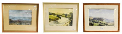 Lot 1002 - Norman Webster, On the Moors near Otley, Yorkshire, signed gouache, 23.5cm by 35cm, together...