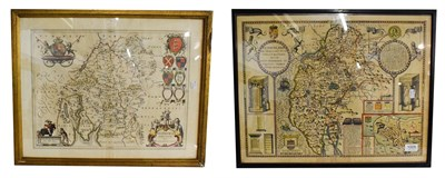 Lot 1005 - John Speed, an engraved and hand tinted map of Cumberland inset with a plan of Carlile, 42cm by...