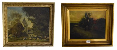 Lot 1006 - An oil on canvas picture of church with figures signed Stephany Cooper 50cm by 60cm together...