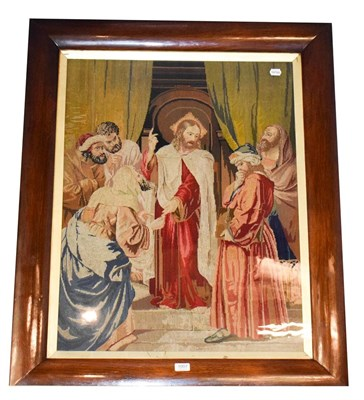 Lot 1007 - A Victorian rosewood framed wool work religious scene, 82cm by 63cm