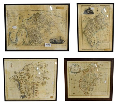 Lot 1010 - Robert Morden, an engraved and hand tinted map of Cumberland, 39.5cm by 45.5cm, John Cary map...
