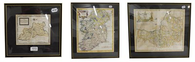 Lot 1012 - Robert Morden, an engraved and hand tinted map of Somerset (shire), 37cm by 43cm, the Kingdom...