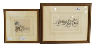Lot 1013 - Robert Hills (1769-1844) Timbertug, inscribed watercolour, 10.2 by 17.8cm,together with Wagon...