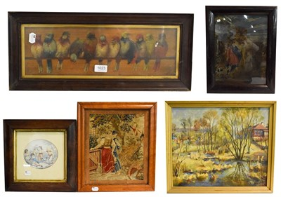 Lot 1023 - A mixed lot of oils, watercolours and tapestries, to include landscapes and classical views,...
