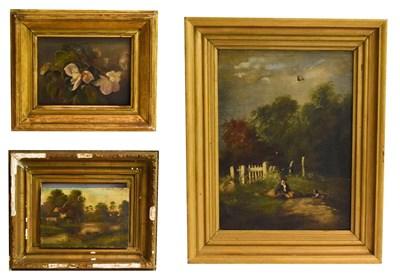 Lot 1024 - English school (19th century) country landscape, oil on canvas, together with another landscape and