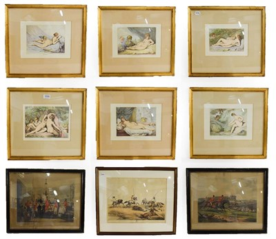 Lot 1026 - A mixed lot of decorative prints including a set of six after Rowlandson, together with...