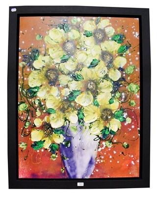 Lot 1027 - Clare Sykes (b.1972) Sunshine Bouquets 2017, acrylic on canvas, 101cm by 76cm, Artist's Resale...