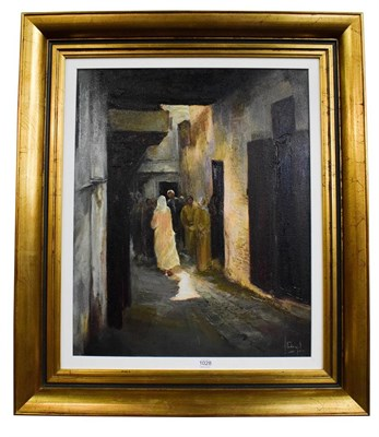Lot 1028 - (Contemporary) Moresque scene with figures in an alleyway, oil on canvas, indistinctly signed,...