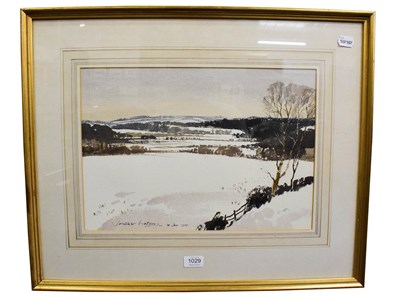 Lot 1029 - James Fletcher-Watson, RI, RBA (1913-2004) snow in the Cotswolds, signed and dated 14th January...
