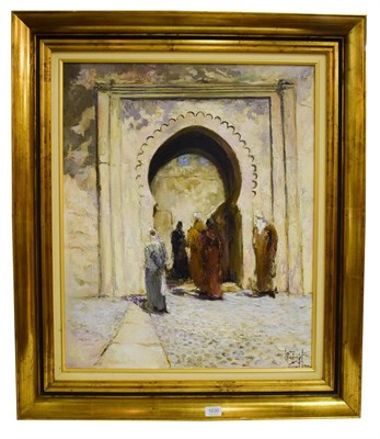 Lot 1030 - (Contemporary) Moresque scene with figures under an archway, oil on canvas, indistinctly signed and