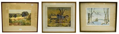 Lot 1031 - Meredith Hawes (1905-1999) Summer landscape, signed gouache 1975, 28cm by 38cm, together with...