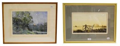 Lot 1034 - John Moore CBE, RI (20th century) Harvest moonrise, Upper Tamar Valley, signed watercolour, 30cm by