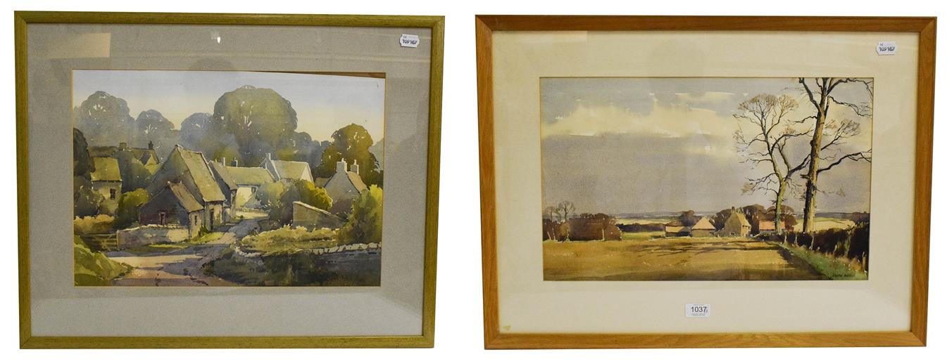 Lot 1037 - John Noble (20th century) Suffolk landscape, signed watercolour, 31cm by 50cm, together with an...