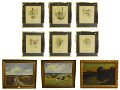Lot 1040 - English school (20th century) cattle in a coastal landscape, signed with initials H K, oil on...