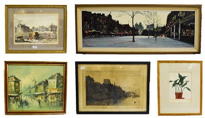 Lot 1041 - A quantity of pictures and prints, including a oil on panel street scene circa 1970's, coloured...