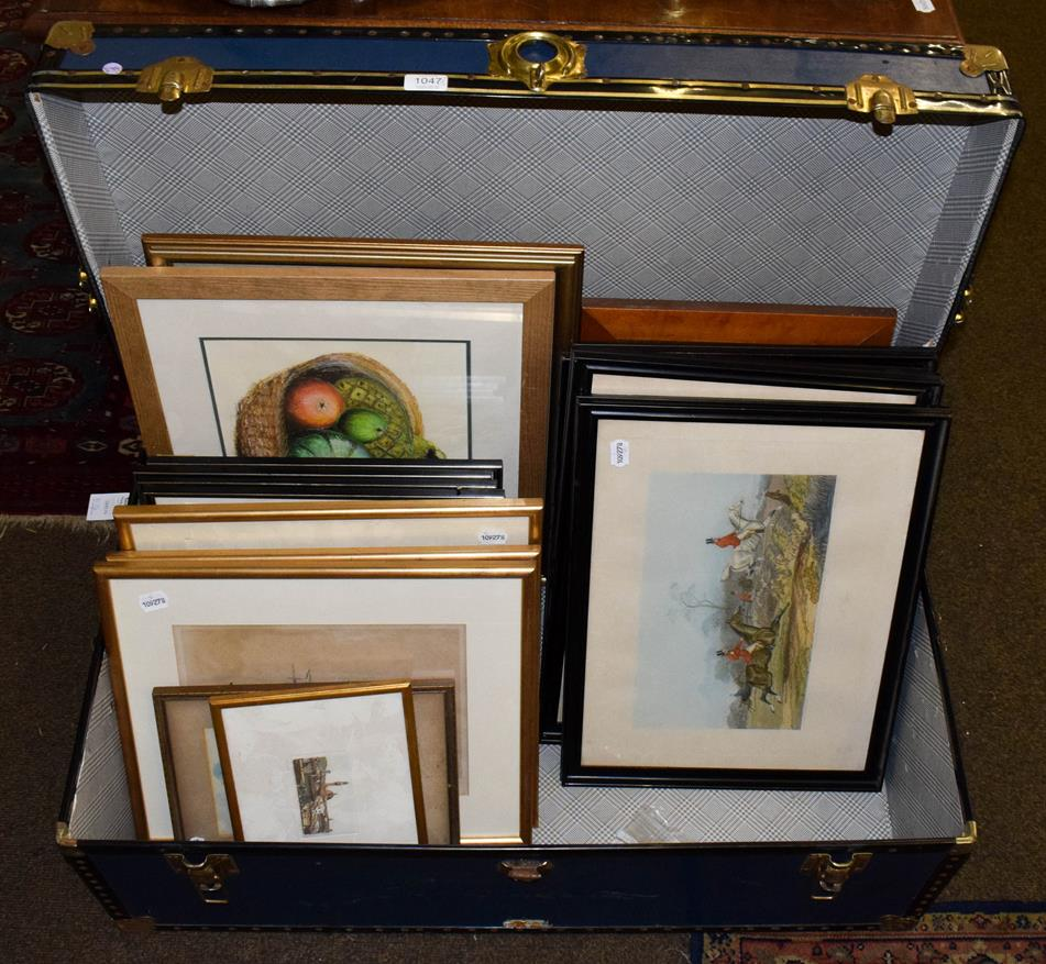 Lot 1047 - A travelling trunk, two modern rugs, together with assorted pictures and prints, including sporting