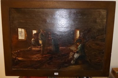 Lot 1049 - Newlyn school (20th century) repairing the nets, oil on canvas, 59cm by 90cm