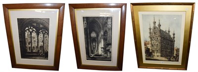 Lot 1050 - Three church prints to include William Monk R E, Hotel Deville, Louvaim 66cm by 48cm, an etching by