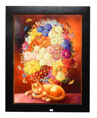 Lot 1051 - Anna Varella (b.1971) floral still life with cat, acrylic on board, signed and dated 'Anna...