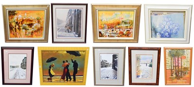 Lot 1053 - After Jack Vettriano, modern replica, 62.5cm by 82cm, together with four signed prints of...