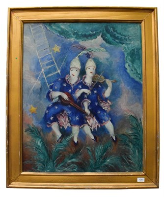 Lot 1055 - P Montazel French (19th / 20th century) impressionist view of musicians, signed oil on canvas, 80cm