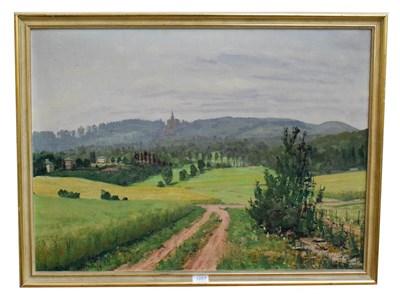 Lot 1057 - H. Pfennig (20th century) Italianate landscape, signed, oil on board, 79cm by 67cm