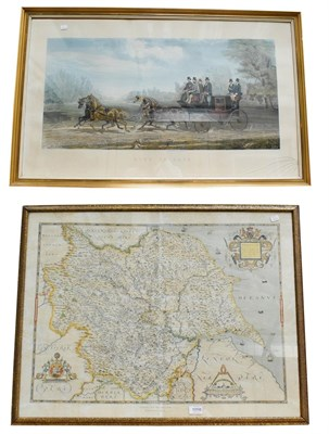 Lot 1058 - Coloured map 'Saxton's map of Yorkshire', together with a coloured engraving 'Four in Hand'...