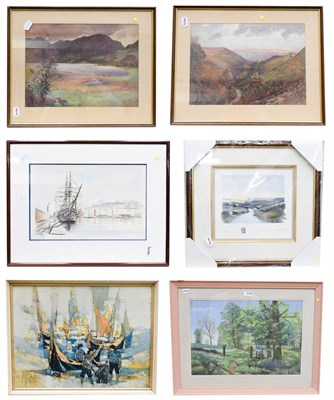 Lot 1059 - English school (late 19th / early 20th century) landscape watercolours, one signed F Groom (?)...