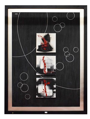 Lot 1060 - Modern art, a large mixed media picture, three box canvases arranged in a column on a...