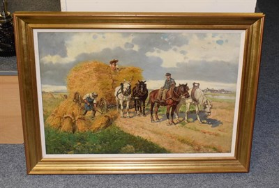 Lot 1061 - Flemish school (20th century) collecting the straw, indistinctly signed, oil on canvas 52cm by 78cm