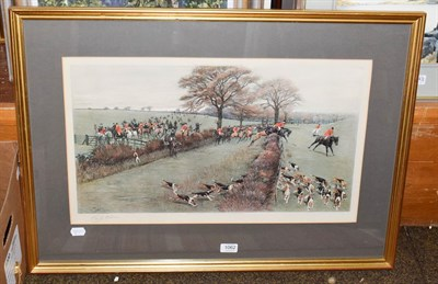 Lot 1062 - After Cecil Aldin, On the hunt, signed print 36cm by 62cm