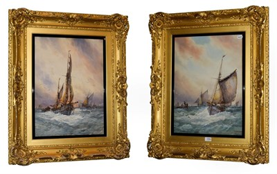 Lot 1066 - William Stewart (active 1910-1930) British, Fishing boats off the coast, pair of signed...