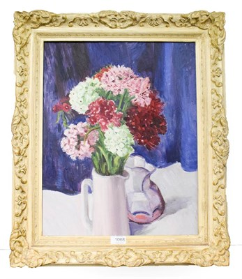 Lot 1068 - Oil on board still life picture, reverse label marked ''Mrs Louie Grimshaw'', 49cm by 39cm