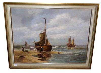 Lot 1069 - Hans Wacker-Elsen (1868-1958) German  Shipping scene with figure unloading the day's catch...
