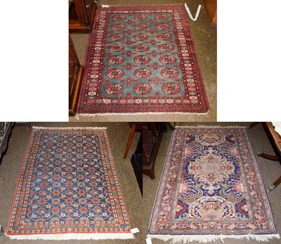 Lot 1074 - A Veramin rug, the indigo field of Mina Khani design enclosed by narrow borders 158cm by 100cm,...