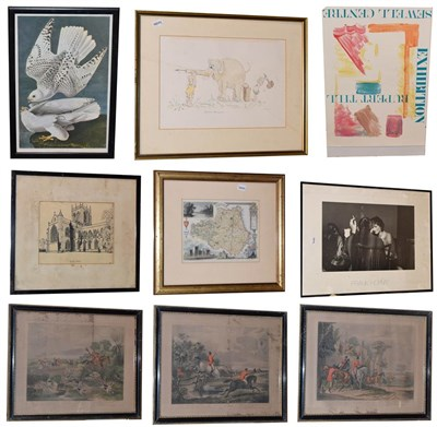 Lot 1083 - A mixed lot of 19th century sporting prints, framed posters and views of churches and bridges,...