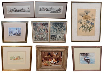 Lot 1084 - A mixed lot of etchings, prints and watercolours to include pictures of chickens, dogs, various...