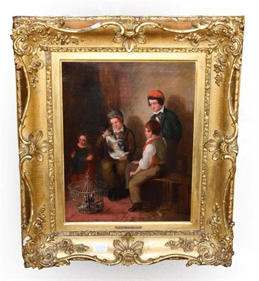 Lot 1089A - EH Bott (19th century) ''The Exchange'', inscribed and dated verso 1849, oil on canvas, 44.5cm...