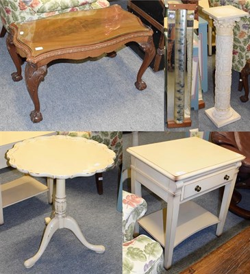 Lot 1091 - A piecrust top tripod table later painted, together with a similarly painted occasional table...