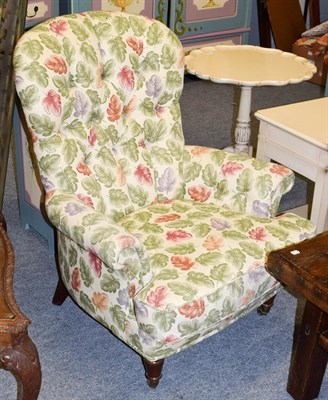 Lot 1092 - A Liberty & Co. button back occasional chair, the fabric printed with autumnal leaves