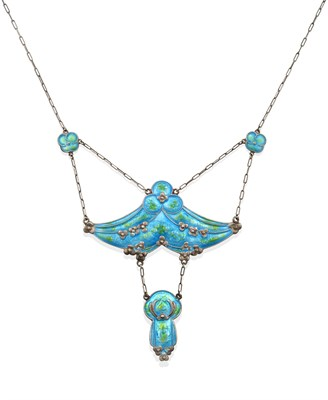 Lot 2067 - An Art & Crafts Enamel Necklace, by William Hair Haseler, Attributed to Jessie M. King design,...