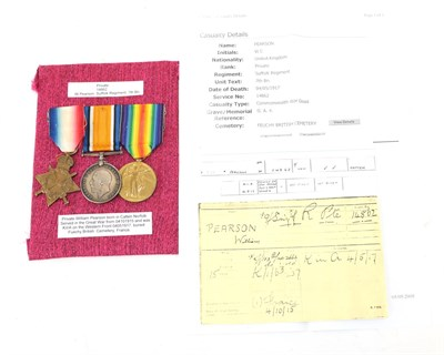 Lot 17 - A First World War Casualty Trio, comprising 1914-15 Star, British War Medal and Victory Medal,...