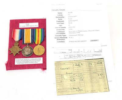 Lot 18 - A First World War Casualty Trio, comprising 1914-15 Star, British War Medal and Victory Medal,...