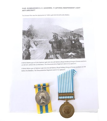 Lot 21 - The Battle of the River Imjin - A Korea Pair, comprising Korea Medal named 19004053...