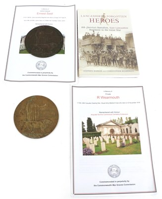 Lot 23 - Two First World War Memorial Plaques, to:- ERNEST SEEL, with photocopied research material and...