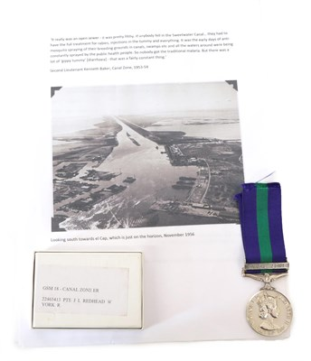 Lot 24 - A General Service Medal 1918-62, with clasp CANAL ZONE, awarded to 22465413 PTE J L REDHEAD W...