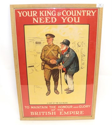 Lot 38 - A First World War Recruiting Poster - Lawson Wood, ''A Chip Of the Old Block'', ''Your King &...